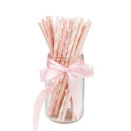 2019 temas de bolos de casamento 50 pçs / lote Papel Tema Criativo Rosa Partido Beber Palhas Bolo Bandeiras Para O Aniversário de Casamento Fontes Decorativas Do Partido tubo de Beber temas de bolos de casamento barato