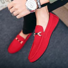 2019 Sommer Männer flache Schuhe beiläufige Licht atmungsaktiv Fashion Trend Slip On Driving Schwarz Rot Suede Mens Loafers Lederschuhe