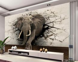 Murais de elefantes on-line-3d papel de parede elefante mural TV fundo da parede sala de estar quarto TV fundo mural papel de parede para paredes 3 d