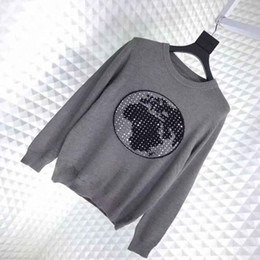 asian woman clothes Promo Codes - 19FW Luxury Autumn Winter Europe Paris Diamond Earth Sweater Fashion Men Clothes Pullover Sweatshirt Women Sweaters Asian Size