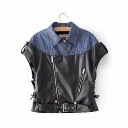 Coletes de couro feminino on-line-Coletes de couro Casacos Curtos Mulheres Sem Mangas Jaqueta De Couro Da Motocicleta Ocasional Encabeça Patchwork Feminino Locomotiva Curto Vest