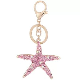 marines accessories Coupons - New fashion Crystal Starfish key ring lovely marine starfish car key chain girl bag accessories keychains
