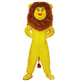 traje de león amarillo Rebajas Traje de la mascota del león amarillo de Halloween Dibujos animados de alta calidad Alexander Lion Anime tema personaje Fiesta de Carnaval de Navidad Disfraces