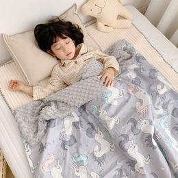 2019 manta de terciopelo de algodón Envío de la gota Mantas para niños Niños y niñas Unicornio de dibujos animados Edredón de algodón y terciopelo Mantas para bebés recién nacidos de moda manta de terciopelo de algodón baratos