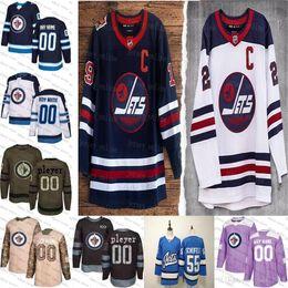 американский хоккейный трикотаж Скидка 2019 Heritage Классических Пользовательские Виннипег Джетс мужского женские молодежный Голубой Белая Черный камуфляж плоско США Персонализированного льда хоккей прошитой S-3XL
