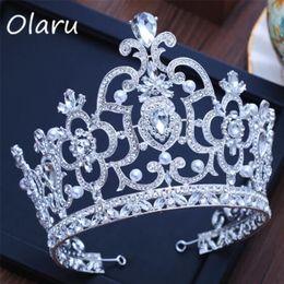 Olaru vintage Luxury Bridal Tiara crystall big Queen Crown Wedding Hair  Accessories headband Pageant Hair Ornaments Headdress C18112001 72b300c8f9da