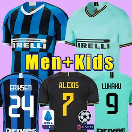 crianças entre kit milan Desconto ERIKSEN Lukaku LAUTARO SKRINIAR Inter 2019 2020 Milan camisa de futebol SENSI Barella Jersey 19 20 futebol kit top camisas Homens Crianças define uniforme