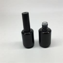 Escova de garrafa de óleo de unha on-line-15ml forma redonda prego garrafa vazia polonês escova portátil do prego Frascos de petróleo Nail Art recipiente de vidro
