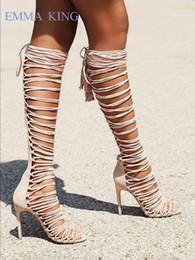 aberto toed botas de salto alto Desconto Mulheres Sexy Camurça Bege Cut-Outs Joelho Botas Altas Banda Estreita Toe Aberto Lace-Up Longo Botas Sexy Saltos Finos Sapatos Sandalias Mujer