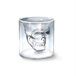 mug shots Promo Codes - 4 Sizes Skull Head Wine Glass Mug Crystal Beer Whiskey Shot Double Transparent Glass Cup Vodka Drinking Bar Club Beer Wine Glass Bottle
