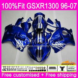 2019 kit de carénage gold yzf r1 Injection Pour SUZUKI Hayabusa GSXR1300 GSXR 1300 96 02 03 04 05 06 07 Bleu Usine 22HM.93 GSX R1300 2002 2003 2004 2006 2006 2007 Carénage
