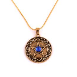 HY153 Viking pagão banhado a ouro círculo encantos colar talismã pentagrama pingente de colar com amarelo Gemstone jóias por atacado de Fornecedores de encantos pagãos por atacado