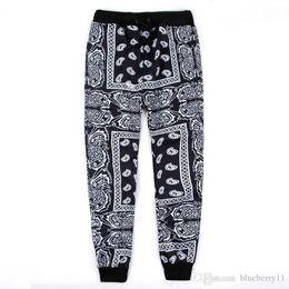 Pantalones swag para hombre online-Negro rojo para hombre Joggers Sweatpants Swag Pantalones Hombre Bandana Joggers Pantalones para hombre Hip Hop Pantalones de mujer Unisex M-2XL
