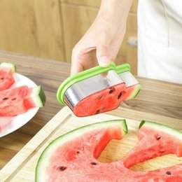 melon cutter cantaloupe Promo Codes - Watermelon Cutters Stainless Steel Watermelon Slice Popsicle Shape Melon Cutting Fruit Tool Cantaloupe Melon Slicer