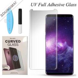 Protetor de vidro curvo completo Tecnologia de dispersão líquida com luz UV para Samsung Galaxy Note 9 S10 S9 S8 Plus Mate 20 Pro pacote de varejo cheap light mates de Fornecedores de companheiros de luz