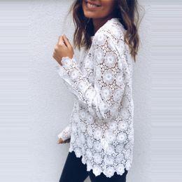 Женская мода Boho Beach Holiday Лето Свободные Повседневная Шифон Кружева Цветочные Вышивать Белые Топы Femme Дамы Сетки Блузка от