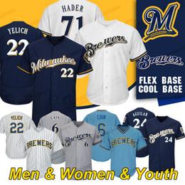 2019 maillots de baseball milwaukee Maillot Milwaukee Custom Brewers 22 Christian Yelich 71 Josh Hader 24 Jesus Aguilar 6 Chandails de baseball Lorenzo Cain maillots de baseball milwaukee pas cher
