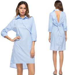 Vestidos de moda para as mulheres Light Blue Listrado Único Backless com Bolso Irregular Casual Diário Elegante Senhora Camisa Vestido 8232 de