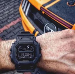 Relógios de quartzo quadrados militares on-line-Luxo Quartz Esporte Mens Relógios de Moda de Borracha Preta LED Militar Do Exército Quadrado Dial À Prova D 'Água Resistente Ao Choque Wholesle Relógios de Pulso 2019