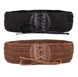 elastico largo cintura di vita Sconti Cintura da donna di nuovo stile Moda Solido da donna Retro Fibbia elasticizzata Cintura con fiocco Ampio elastico Cinturino Cinch