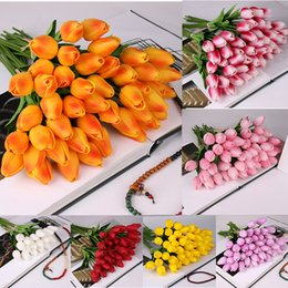 Flores falsas ramo de novia online-2019 10 Unids belleza Real touch flores de látex Tulipanes flor Artificial Bouquet Fake flor ramo nupcial decorar flores para la boda