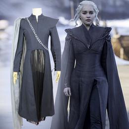 костюмы дэнари тарариена Скидка Хэллоуин Женская одежда Игра престолов 7 Дейенерис Targaryen 3шт костюм платья Cosplay взрослых Карнавальный костюм Женщины Девушки набор