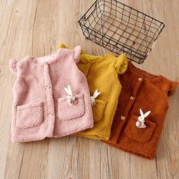 giacche maglioni per ragazze Sconti Tasche Baby Girl Sweater Vest Solid Kids Winter Cardigan Giacca in poliestere extra-spessa Cappotto in maglione molto elastico