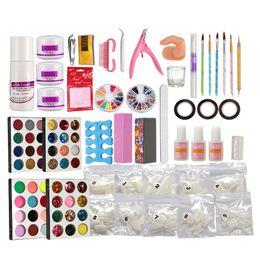 cola líquida unha acrílica Desconto Pro Acrílico Líquido Nail Art Escova Glue Glitter Pó Buffer Ferramentas Set Kit Dicas