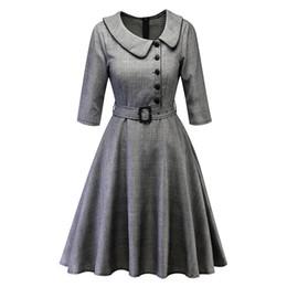 Peter pan weinlese kleid online-Frauen Vintage Prinzessin Unregelmäßige Peter Pan Kragen Party Kleider Aline Swing Plaid Dress