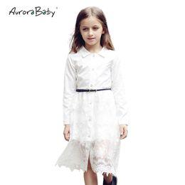 Большие кнопки пояса онлайн-Маленькие Большие Девушки Белое Кружево Миди Блузка Рубашка Платье С Длинным Рукавом Твердые Свободный Пояс 2019 Лето 6-14y Подросток Детская Одежда J190506