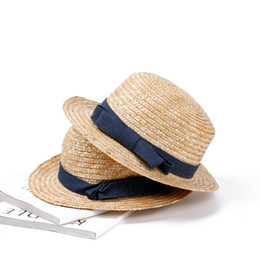 Sombrero para el sol para niñas Simple Casual Retro Corto Visera de playa Tejido de paja Sombrero de paja Sombrero de paja de playa desde fabricantes