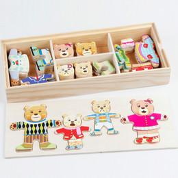 2019 kleider spielzeug aus holz Cartoon 4 Kaninchen Bär Kleid Ändern Puzzle Holzspielzeug Montessori Bildungsänderung Kleidung Spielzeug Für Kinder günstig kleider spielzeug aus holz