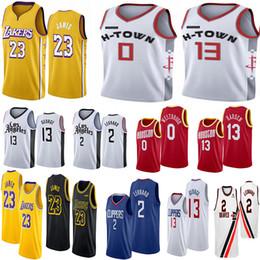 pallacanestro lebron Sconti 2020 NCAA Mens 23 LeBron Jersey Russell Westbrook 0 Kawhi Leonard 2 13 Harden Paul 13 George College Basketball Maglie