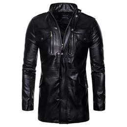 stand per moto Sconti Giacche in pelle sintetica per gli uomini Autunno Inverno PU Giacche da moto Cappotto lungo giacca a vento in pelle a sezione lunga
