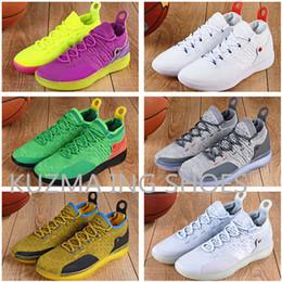 Zapatos kevin durant negro verde online-Zapatillas de baloncesto KD 11 Zoom para hombre, salpicado de oro, Michigan, Oreo Wolf, gris Kevin Durant KD10 Zapatillas de deporte EYBL en verde y negro arco iris
