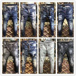 uomini sottili di pantaloni neri Sconti 2019 nuovi D2 Classic Black Biker Jeans Uomo Runway Biker Dritto dritto Skinny caldo pantaloni Cowboy Famous Brand Designer lavato pantaloni da uomo