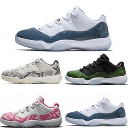 Zapatos de baloncesto subieron online-2019 nuevas  Air JORDAN 11 zapatillas de baloncesto azul marino rosadas de piel de serpiente Bred Concord Georgetown space jam GG 11s Chaussures de Rose Gold Sneakers 36-47