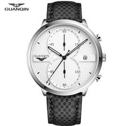 Guanqin orologi al quarzo online-Pelle GUANQIN Mens Orologi Orologio Uomini Top cronografo maschile Sport da polso al quarzo Big Dial Relogio Masculino
