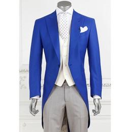 Smoking smoking marié en Ligne-Trois pièces Royal Blue Long Men Tailcoat pour le mariage Prom Party Costume culminé revers personnalisé Made Groom Tuxedo