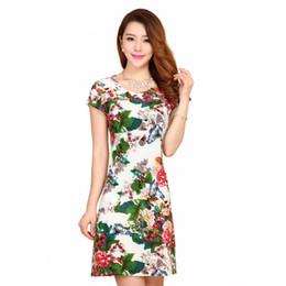 Vestidos de kimono de seda online-Estilo de las mujeres vestido delgado túnica leche impresión de seda floral casual más tamaño vestido feminino vestidos sueltos ropa