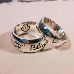 Augenjalousien online-Blind für die Liebe 925 Sterling Silber Auge Herz Blume Vogel Paar Ring