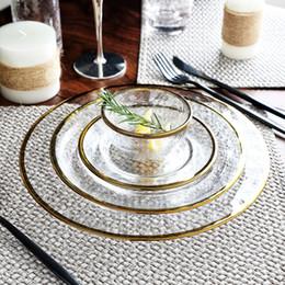 set di lusso di set da tè Sconti Luxury Gold Inlay Dinnerware Plate Serving Platter Piatto di snack in vetro Piatto da dessert Piatto da dessert Set J190712