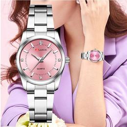 Assista cinto rosa para mulheres on-line-Mulheres rosa pulseira relógio pequeno ocasional das senhoras, Prata, Aço Belt Quartz Vestido relógios de pulso Diamante Relógio Waterproof