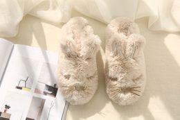 Обувь для кроликов онлайн-Европейская сетка красный кролик ухо водонепроницаемый нижний плюшевые хлопчатобумажные тапочки хлопка месяц домашняя обувь может быть поколение