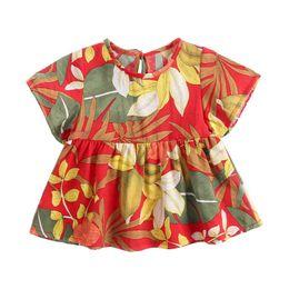 item floral Desconto Verão infantil bebê meninas manga curta vestido de estampa floral roupas de algodão vestido casual para meninas novos itens