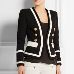 HIGH STREET New Fashion 2018 Blazer Designer da donna Classico Nero Bianco  Color Block Bottoni in metallo Blazer Jacket Outwear S18101305 c3a37256505