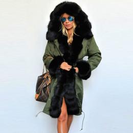Donne invernali rivestite in parka online-Nuovi cappotti invernali Donna Giacche Vero collo di pelliccia di procione di spessore Fodera imbottita di cotone Ladies Down Parka Taglie forti S-2XL