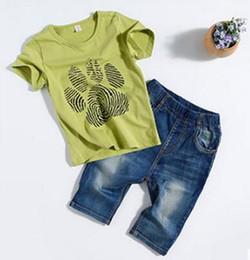 925ab0f2 Китай 2019 новый летний стиль дети ладони печати шаблон с короткими  рукавами джинсы шорты из двух