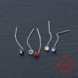 Porcellana di gioielli di perle online-Orecchini a goccia in argento sterling 925 con gioielli caldi in argento rosso nero perlato per donna con filo per orecchini a bottone CZ