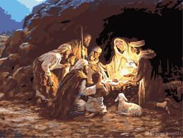 16x20 pollici Vintage DIY Christmas Day La nascita di Gesù Scenario Dipinto dai numeri Kit Art Dipinto ad olio acrilico su tela cheap christmas day oil painting da pittura a olio giorno di natale fornitori